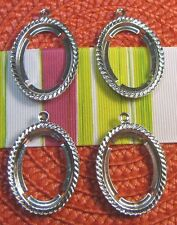 4 pc. PENDANT SETTINGS~ROPE~OVAL~SILVER PLATED 25x18mm ANTIQUED SILVER~CABOCHON