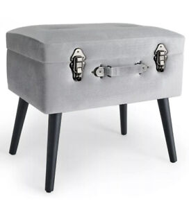 Silver Storage Stool Trunk Pouffe Footstool Ottoman Bedroom Chest  Ex Display***