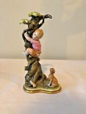 Capodimonte Bruno Merli Figurine Boy in Tree Chased by Dog--Rare Find