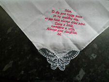 PERSONALISED WEDDING KEEPSAKE HANDKERCHIEF HANKIE MOTHER OF THE BRIDE - TO MUM