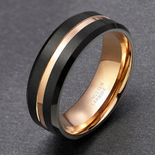 Men Brushed Groove Tungsten Carbide Ring Wedding Band Engagement Comfort Fit