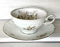 VTG Winterling Bavaria Grand Black Rose Platinum Trim Germany EUC TeaCup Saucer