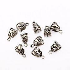 50pcs Antique Silver Connectors Bails Beads Fit Charm European Bracelet Pendant