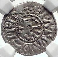 CAROLINGIAN France 840AD Silver Denier Coin of CHARLES II the BALD NGC i69121