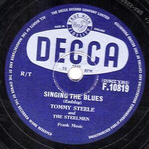 1957 UK #1 TOMMY STEELE  78  SINGING THE BLUES / REBEL ROCK  UK DECCA F 10819 E-