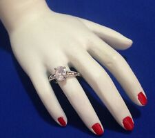 BRILLIANT SOLITAIRE VINTAGE RING - LOOKS LIKE THE REAL THING!  SIZE O (7.25)