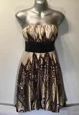 NEW LOOK WOMENS BROWN GOLD CREAM SATIN PARTY COCKTAIL DRESS - UK SIZE 6