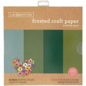 """Lia Griffith 12"""" Frosted Craft Paper Conifer  12""""x12"""", 20pk"""