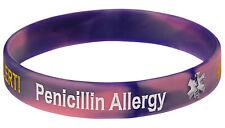 Penicillin Allergy Pink Siicone Wristband Medical Alert ID Bracelet Mediband