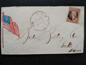 Civil War: Lowell, Mass 1861 #26 No Union with Traitors Flag Patriotic Cover
