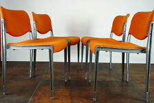 70er 4x Vintage Chairs Retro Dining Room Orange Armchair Space Age Stacking