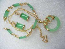 Set Women Natural Green Jade Pendant  +Earrings+Bracelet Lucky Jewelry Sets
