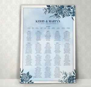 Personalised Design Wedding Seating Table Plan ~Canvas~Board~Paper~ Boxed Roses