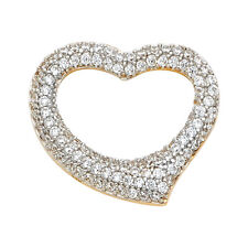 14K Real Yellow Gold CZ Heart Pendant For Girls Yellow Gold CZ Heart Pendant