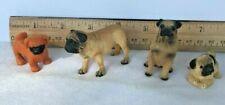 Pug figures Smalls qty 5 (Five): 1 rubber; 4 cast resin