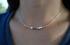 Hematite Sterling Silver Bar Necklace* Feminine Jewelry* Dainty* Gift for her*
