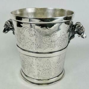 Vtg REED & BARTON Hound Dog Grape Leaves Silver Plate Champagne Ice Bucket #223