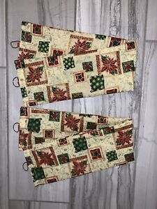 Christmas Poinsettias Drapery Fabric Tie Back Tiebacks ~ 1 Set Of 2