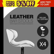 White 4x Bar Stool Kitchen Premium PU Leather Gas Lift Chair 1060