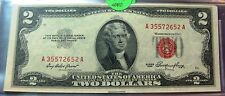 1953 Red Seal Two Dollar ($2) Bill in Excellent Condition   SN A35572652A