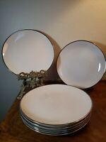 "7 VTG - 8"" Franciscan Salad Plates Masterpiece China, Ivory w/PLATINUM BAND"