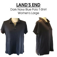 LG 14-16 Lands' End NAVY Collared Polo T-Shirt Good Condition