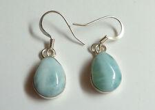 Sterling Silver Blue Larimar Teardrop One-stone Dangle Earrings