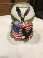 Usa American Flag Bald Eagle Snow Globe Music Box America the Beautiful