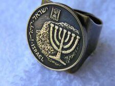 Men Ring Hebrew Israel coin Holy land  Menorah Jewish nice  gift for Hanukkah