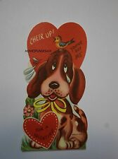 New Vtg. 1960's Valentine Card Sad Crying Beagle Puppy & Songbird