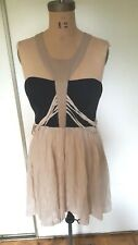Blessed are the meek black taupe side back cutouts cocktail club dress M