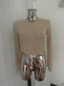 PRETTY LITTLE THING BEIGE STONE RUCHED SIDE LONG SLEEVE CROP  TOP SIZE 10  BNWT