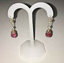 14k yellow gold filigree Earrings with Ruby briolette and Diamonds