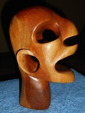 WOOD Macabre SKULL SCULPTURE EXOTIC MID CENTURY MODERN PRIMITIVE CARVED Head