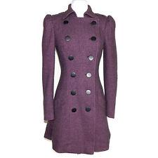 Betsey Johnson Herringbone Purple Victorian Puff Sleeve Skirted Coat Jacket Sz 2