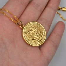 Gold coin circle Dragon Necklace Gold Plated 18k Chain UK