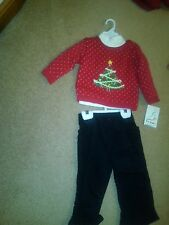 NWT INFANT GIRLS CHRSTMAS SWEATER, TURTLENECK & CORDUROY PANTS 3-6 MOS BT KIDS