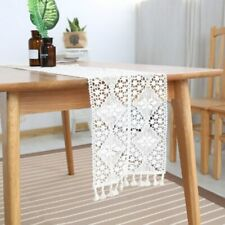 White Lace Tassel Table Runner Vintage Embroidery Wedding Table Decoration Cloth