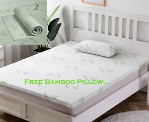 """Quality 2"""" Microfibre Bed Mattress Topper & Pillow with Bamboo Cover Soft Thick"""