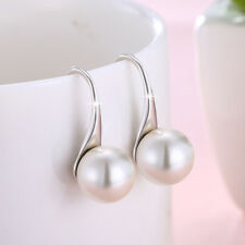 Wholesale 925 Sterling Silver CZ Shell Cream White Pearl Hook Drop Earring Gift