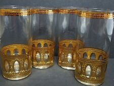 Culver Antigua Gold Tall Drinking Cocktail Bar Glasses Hollywood Regency Set 4