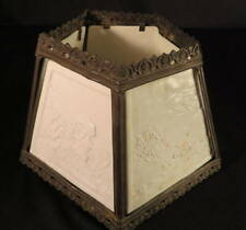 1900-1920 Scenic Lithophane 5 Panel Early Electric Table Lamp Shade
