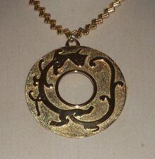 Vintage Crown Trifari Huge Giant Massive Circle Medallion Chinese Dragon Pendant