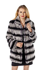 Chinchilla Rex Rabbit Fur Jacket for Women Plus Size - Wing Collar