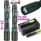20000LM Zoomable T6 LED 18650 Flashlight Torch Lamp Light+18650 BTY+Charger New
