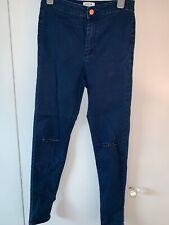 Miss Selfridge Womens Dark Blue Denim Ripped Super Skinny Jeans Size 10 W28 L32