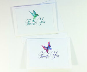 2 Thank You Cards Notes Bird Wedding Business Birthday Thankful Card ID THANK74