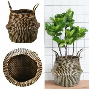 Natural Seagrass Flower Belly Basket Storage Holder Plant Pot Bag Home Decor