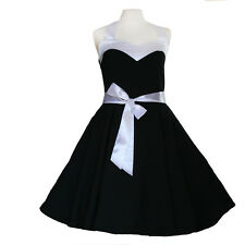 50er Rockabilly Vestito Sottoveste PIN UP PARTY cotone S-M 59 Nero