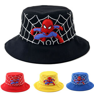 Kids Spiderman Fisherman Caps Boys Bucket Sun Hat Hip Hop Foldable Outdoor Sport